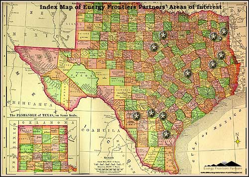Index Map of Energy Frontiers Partners' Areas of Interest - Map of Texas Counties with spots highlighted in image map