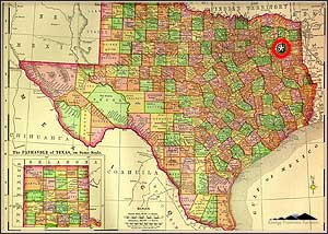 Map of Texas highlighting the location of the Cotton Valley Lime play in northeast Texas