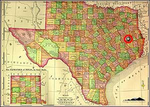 Map of Texas highlighting the location of the Glen Rose play in east Texas